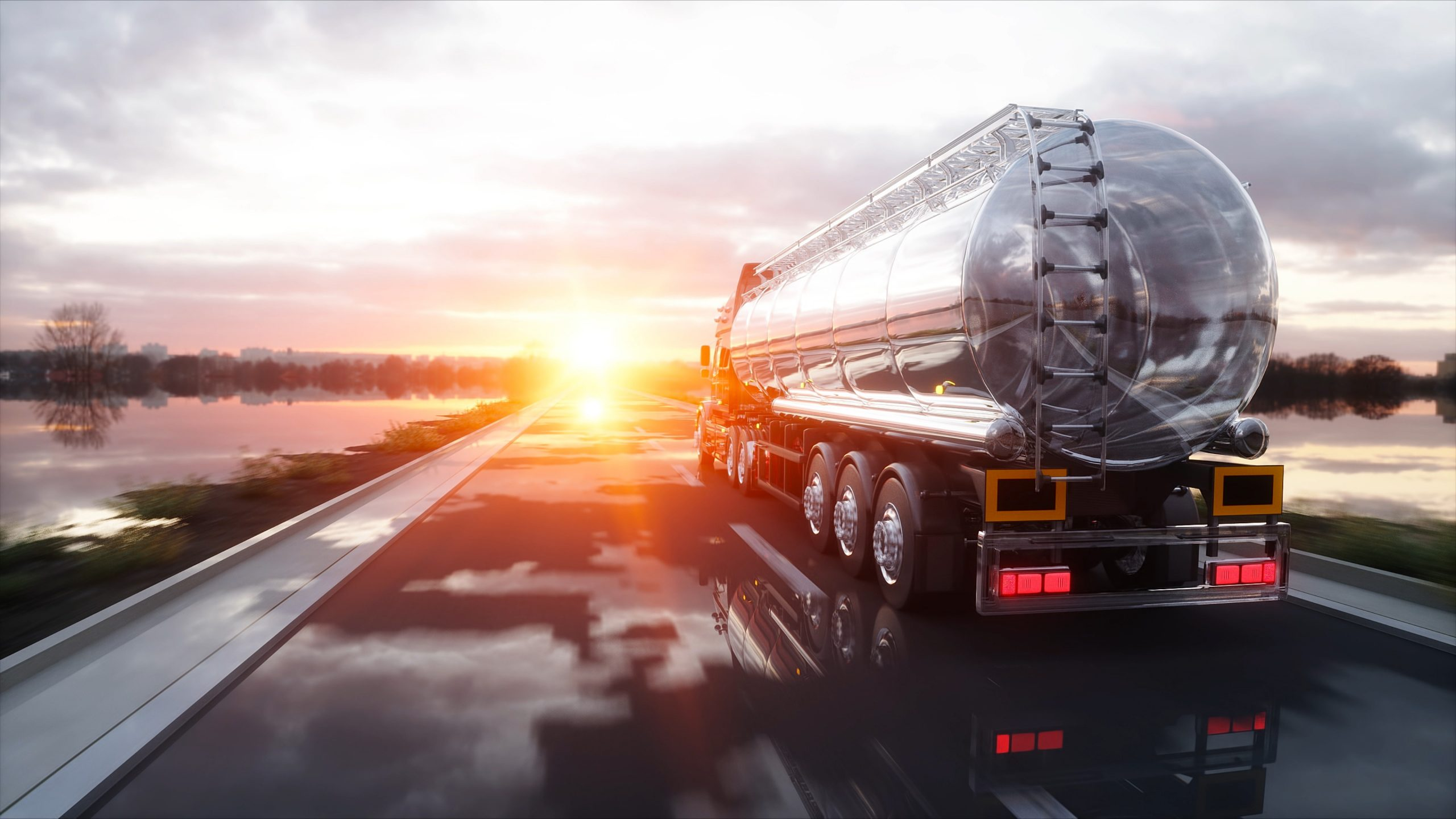 Gas or oil truck on highway